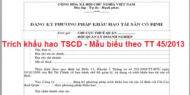 Trích khấu hao TSCĐ - Mẫu biểu theo TT 45/2013