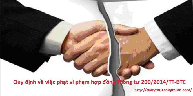 Quy định về việc phạt vi phạm hợp đồng Thông tư 200/2014/TT-BTC