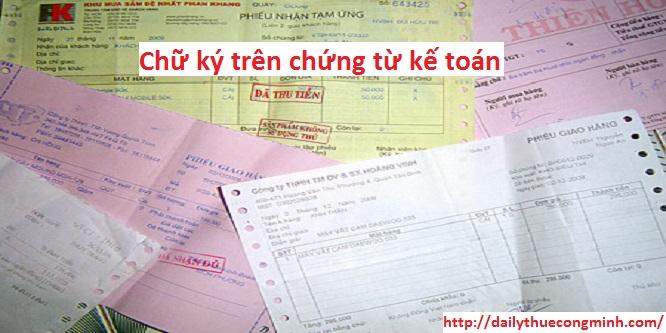 Chữ ký trên chứng từ kế toán