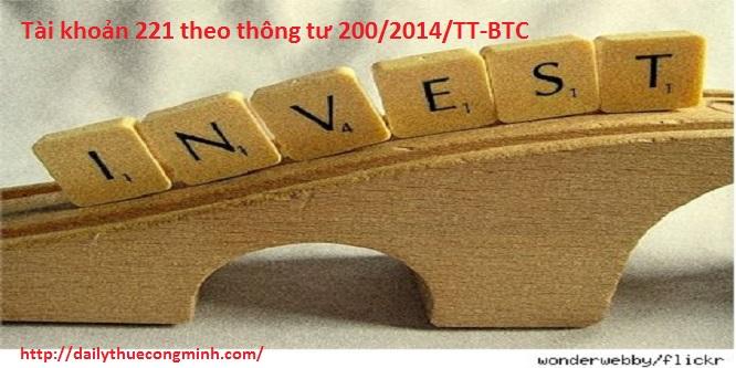 Tài khoản 221 theo thông tư 200/2014/TT-BTC