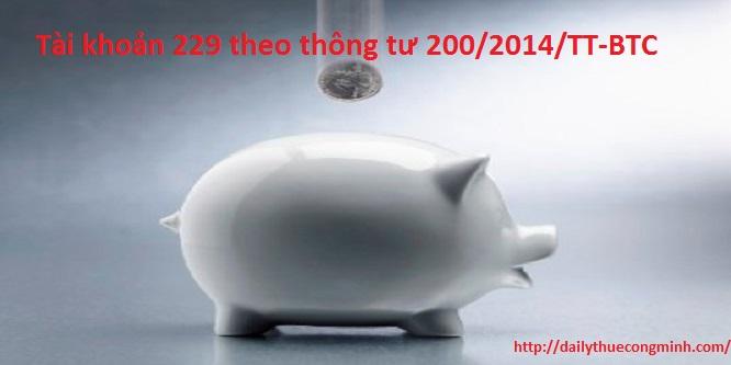 Tài khoản 229 theo thông tư 200/2014/TT-BTC
