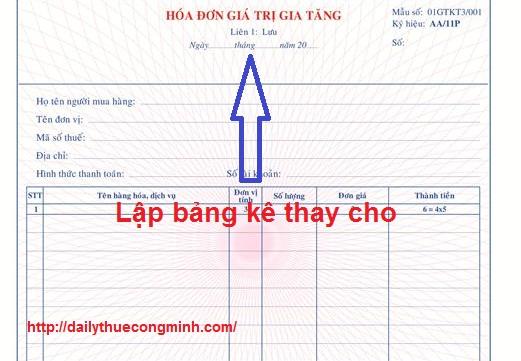 Những lĩnh vực nào được lập bảng kê thay liên 1 của hóa đơn