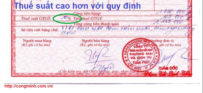Xu ly hoa don viet thue suat cao hon quy dinh