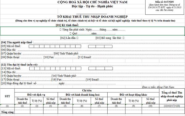 Tờ khai thuế TNDN theo tỷ lệ tính trên doanh thu 04/TNDN