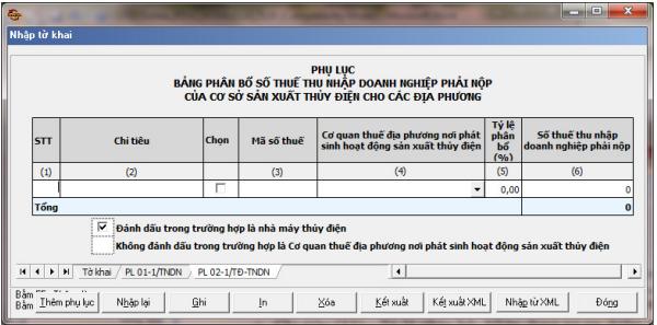 Cách lập phụ lục 02-1/TĐ-TNDN theo phần mềm HTKK