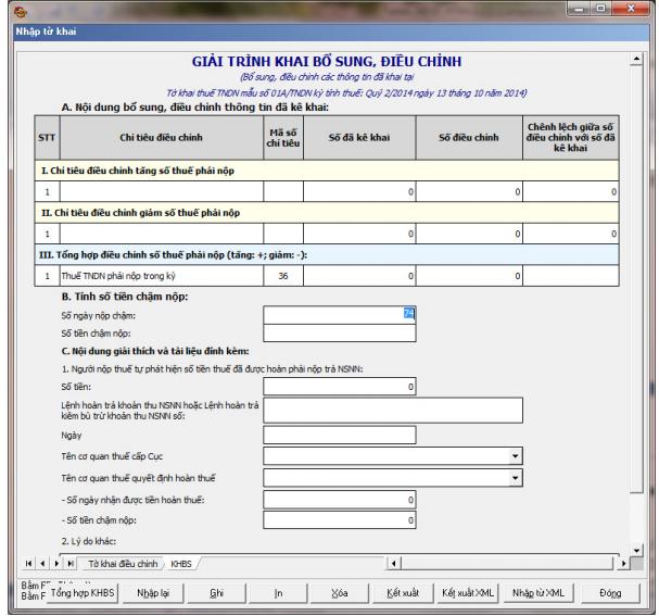 Hướng dẫn lập mẫu 01A/TNDN theo phần mềm HTKK