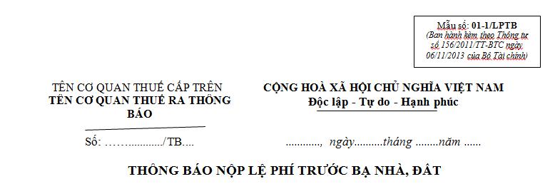Mẫu 01-1/LPTB Ban hành theo Thông tư 156/2011/TT-BTC