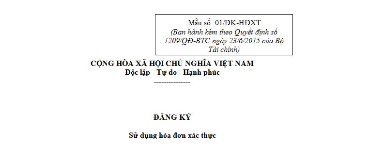Mẫu 01/ĐK-HĐXT Ban hành theo Quyết định 1209/QĐ-BTC