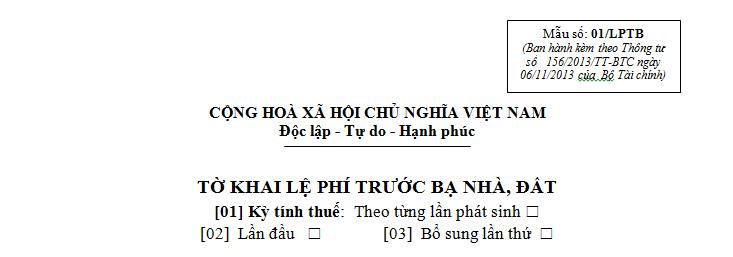 Mẫu 01/LPTB Ban hành theo Thông tư 156/2013/TT-BTC