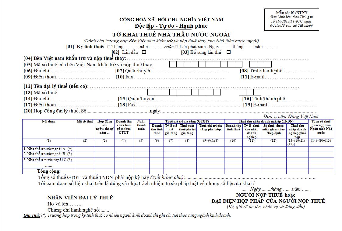 Mẫu 01/NTNN Ban hành theo Thông tư 156/2013/TT-BTC