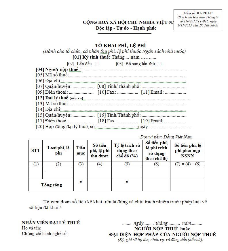 Mẫu 01/PHLP Ban hành theo Thông tư 156/2013/TT-BTC
