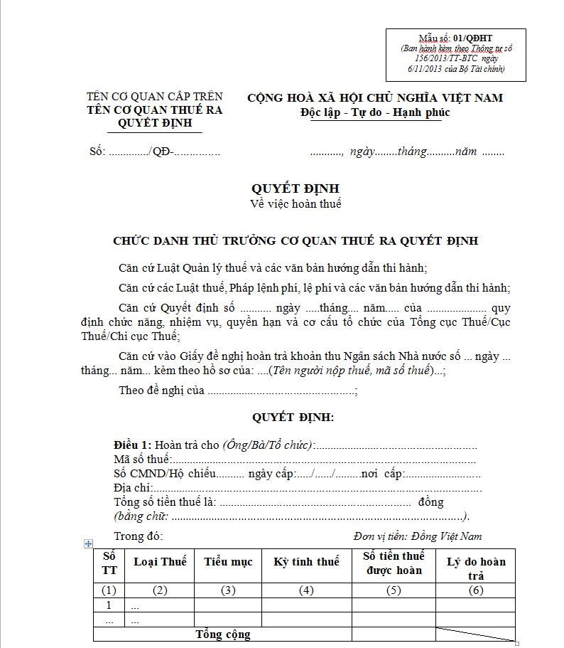 Mẫu 01/QĐHT Ban hành theo Thông tư 156/2013/TT-BTC