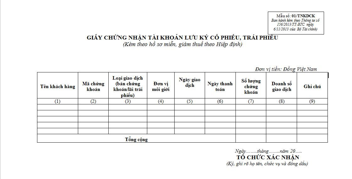 Mẫu 01/TNKDCK Ban hành theo Thông tư 156/2013/TT-BTC