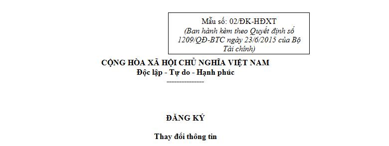 Mẫu 02/ĐK-HĐXT Ban hành theo Quyết định 1209/QĐ-BTC