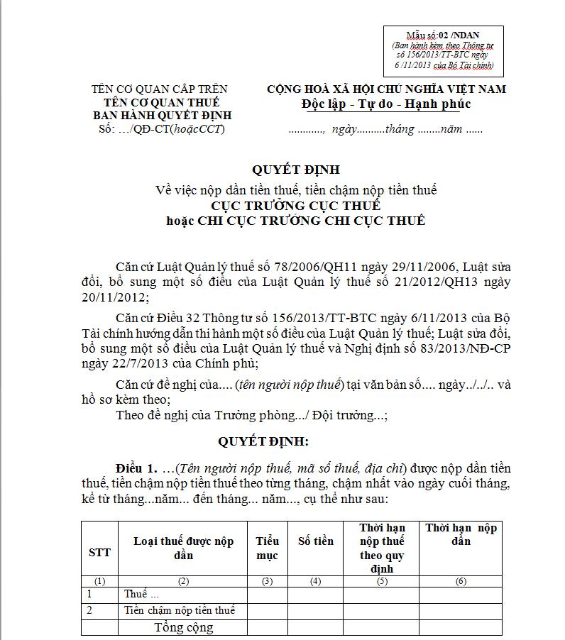 Mẫu 02/NDAN Ban hành theo Thông tư số 156/2013/TT-BTC