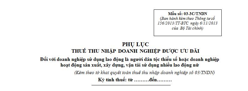 Mẫu 03-3C/TNDN Ban hành theo Thông tư 156/2013/TT-BTC