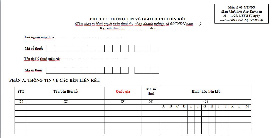 Mẫu 03-701A/TNDN Ban hành theo Thông tư 156/2013/TT-BTC