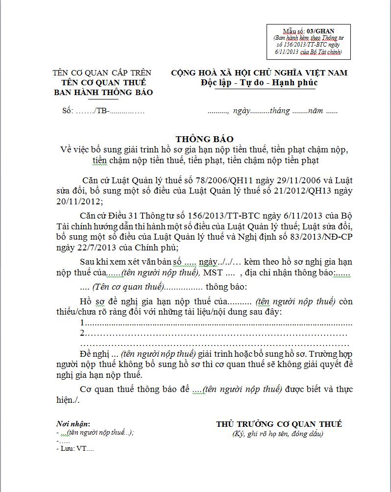 Mẫu 03/GHAN Ban hành theo Thông tư 156/2013/TT-BTC