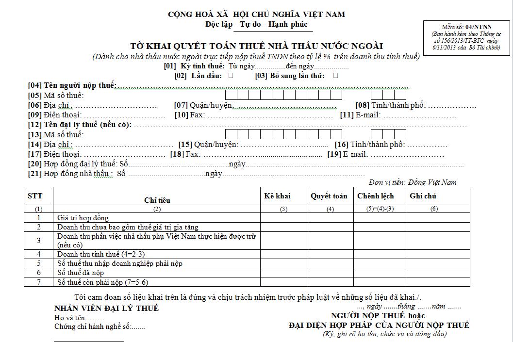 Mẫu 04/NTNN Ban hành theo Thông tư 156/2013/TT-BTC