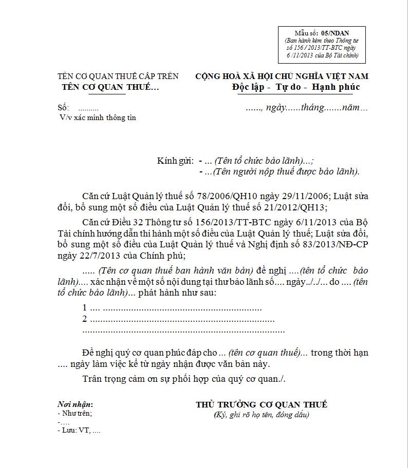 Mẫu 05/NDAN Ban hành theo Thông tư 156/2013/TT-BTC