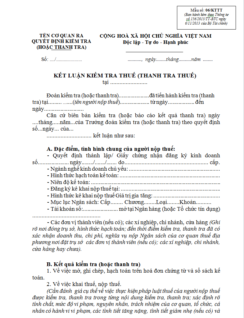 Mẫu 06/KTTT Ban hành theo Thông tư 156/2013/TT-BTC