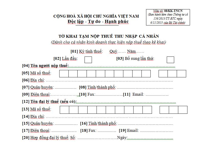 Mẫu 08/KK-TNCN Ban hành theo Thông tư 156/2013/TT-BTC