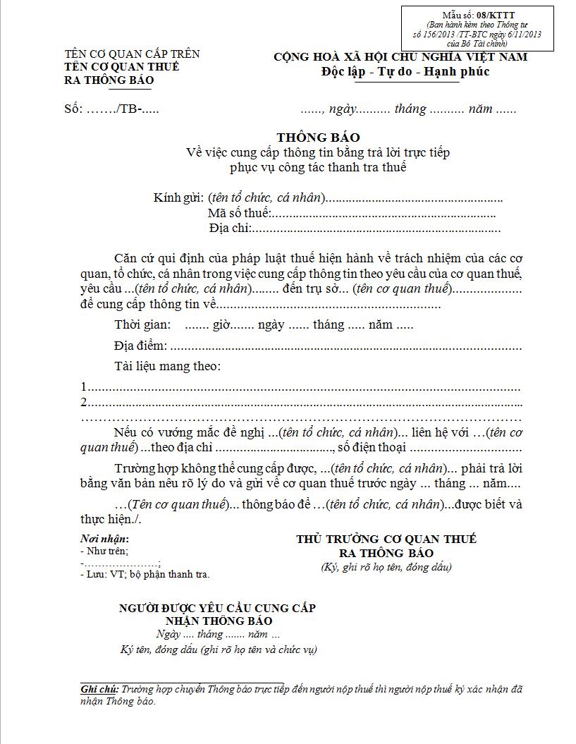 Mẫu 08/KTTT Ban hành kèm theo Thông tư 156/2013/TT-BTC