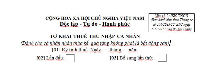 Mẫu 14/KK-TNCN Ban hành theo Thông tư 156/2013/TT-BTC