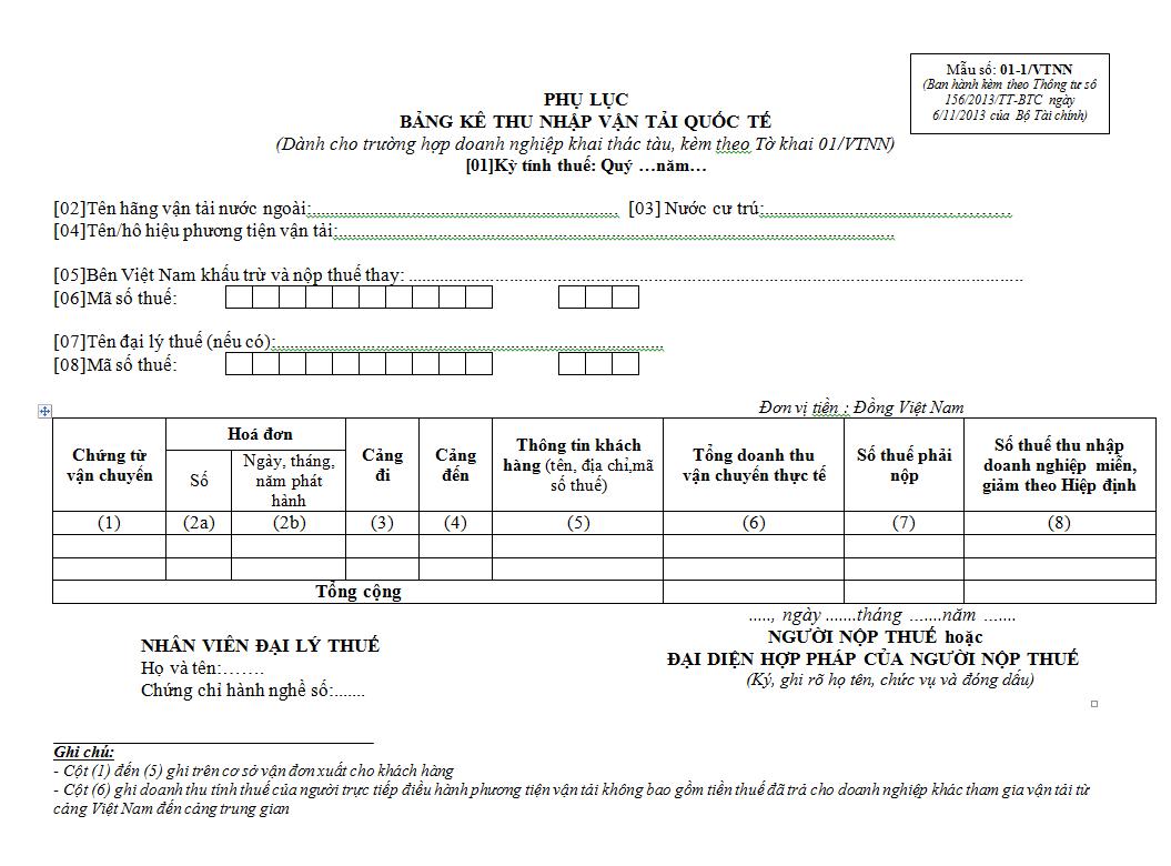 Mẫu số 01-1/VTNN kèm theo Thông tư số 156/2013/TT-BTC