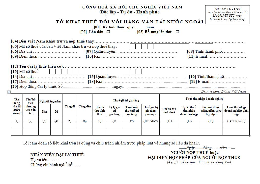 Mẫu số 01/VTNN ban hành theo Thông tư 156/2013/TT-BTC