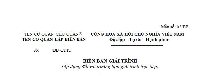 Biên bản giải trình theo Thông tư 166 năm 2013