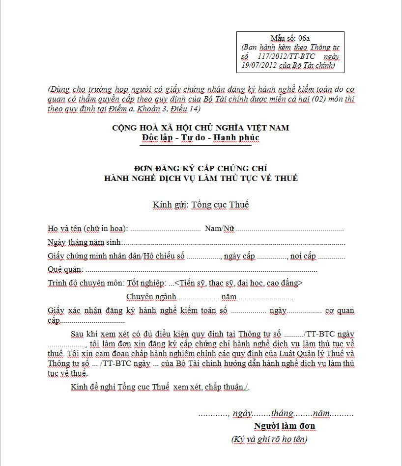 Mẫu 06a đơn đăng ký cấp chứng chỉ hành nghề đại lý thuế