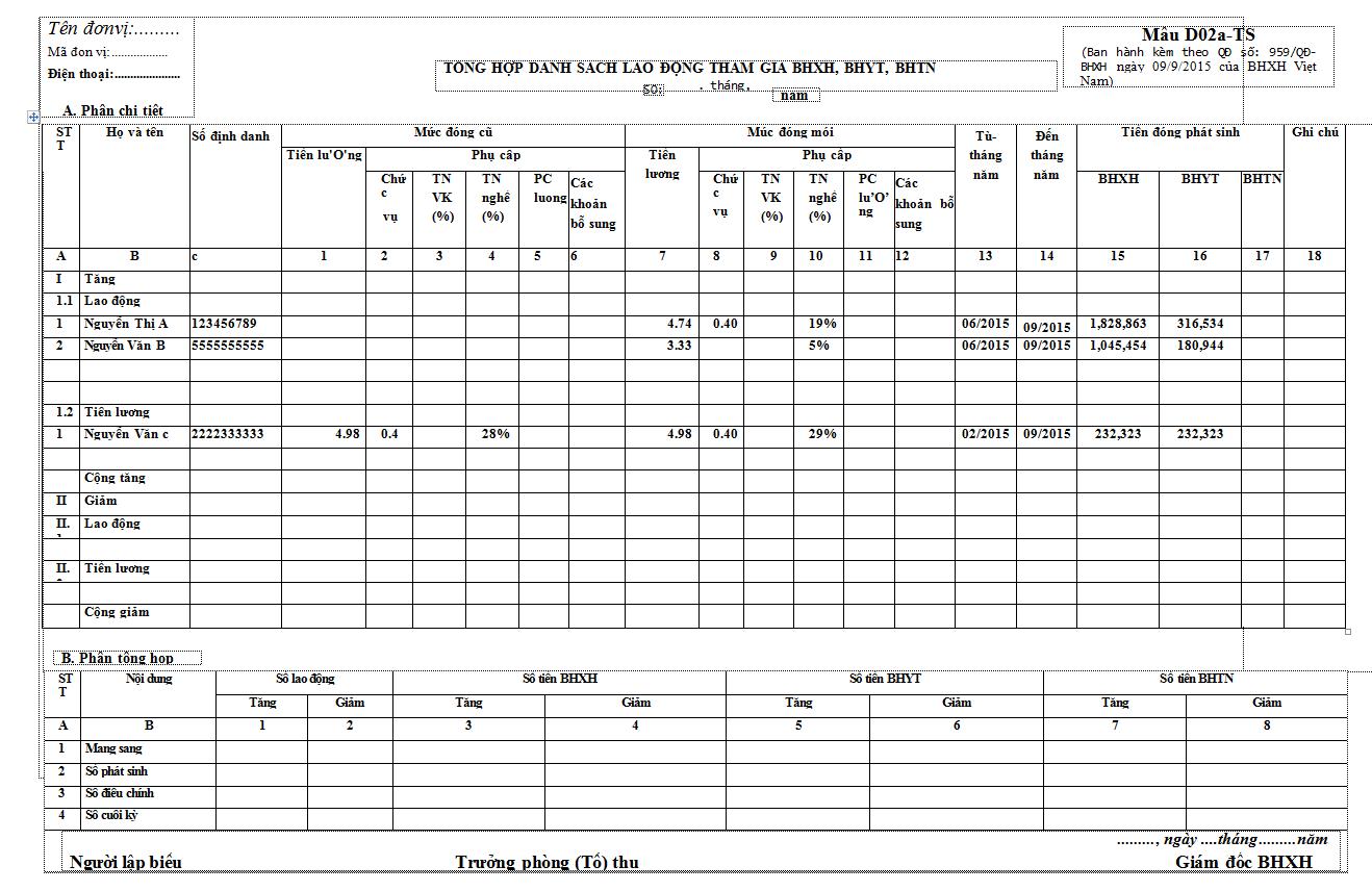 Mẫu D02a-TS Tổng hợp danh sách lao động tham gia BHXH, BHYT