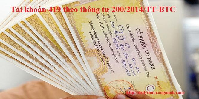 Tài khoản 419 theo thông tư 200/2014/TT-BTC