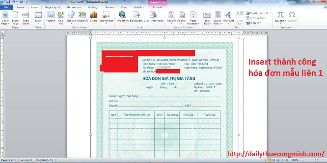 Hướng dẫn chuyển bản mẫu hóa đơn từ bản cứng sang bản word