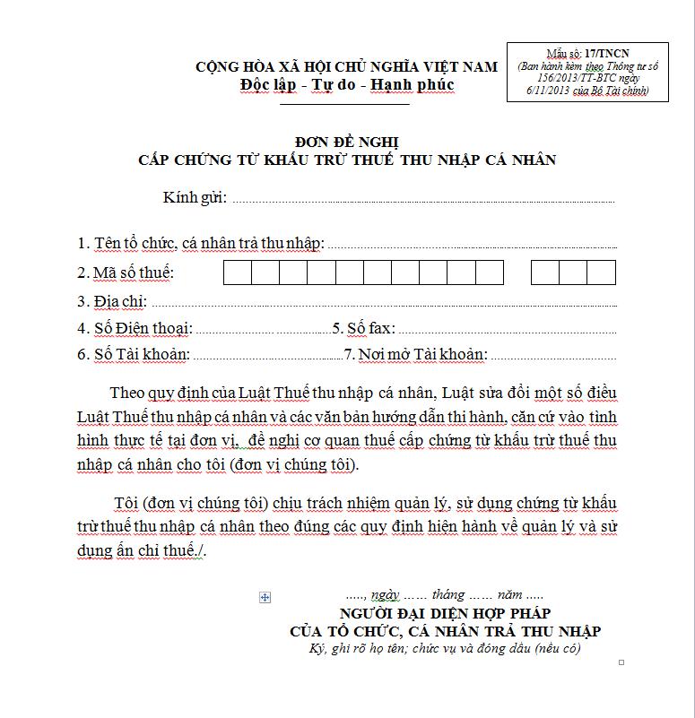 Mẫu 17/TNCN Ban hành theo Thông tư 156/2013/TT-BTC