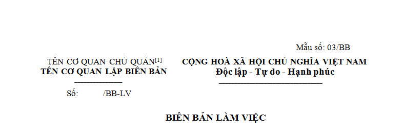 Biên bản làm việc ban hành theo thông tư 166 năm 2013