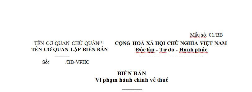 Biên bản vi phạm hành chính về thuế theo Thông tư 166