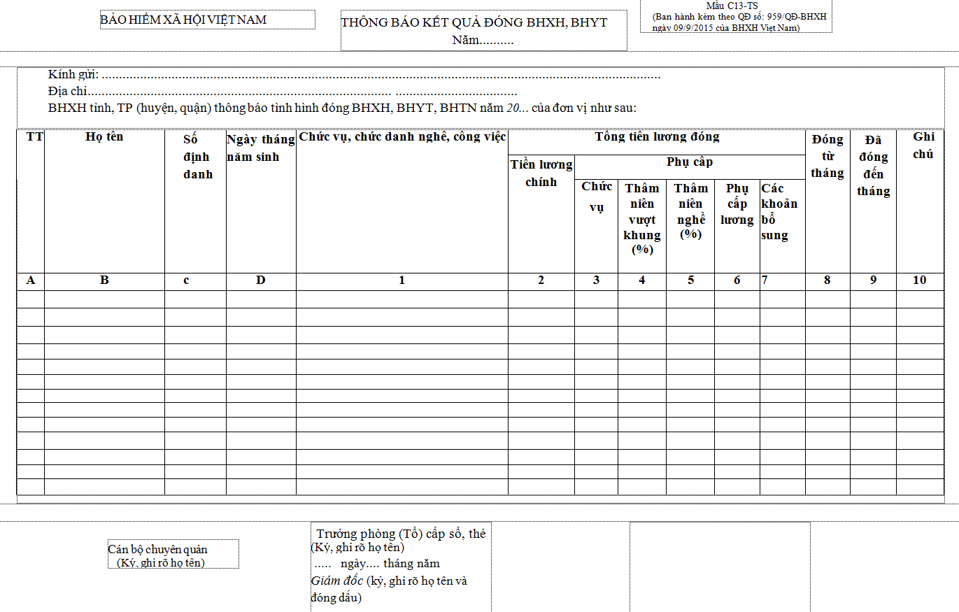 Mẫu C13-TS Thông báo kết quả đóng BHXH, BHYT, BHTN