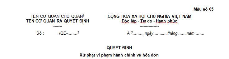 Mẫu số 05 Quyết định xử phạt vi phạm hành chính về hóa đơn