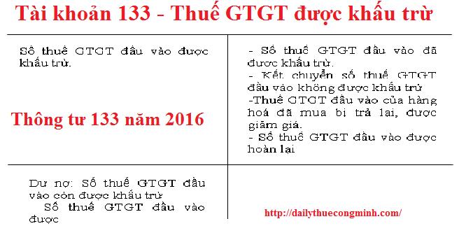 Tài khoản 133 theo thông tư 133 năm 2016